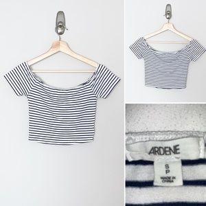 Ardene Navy/White Striped Cropped Tee - Small